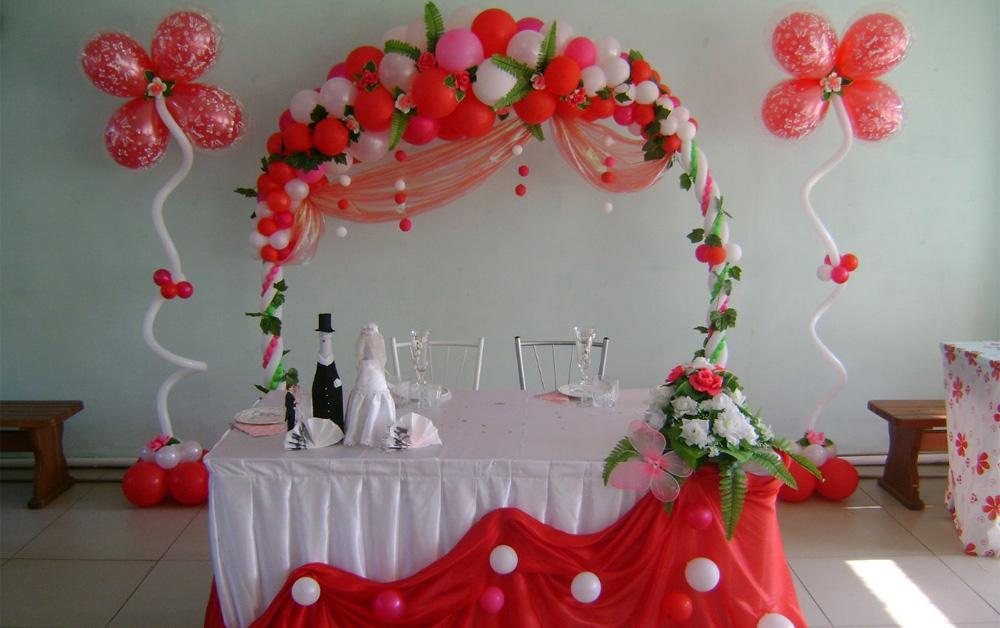 оформление шарами на свадьбу
