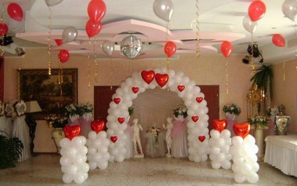 свадебное оформление зала шарами